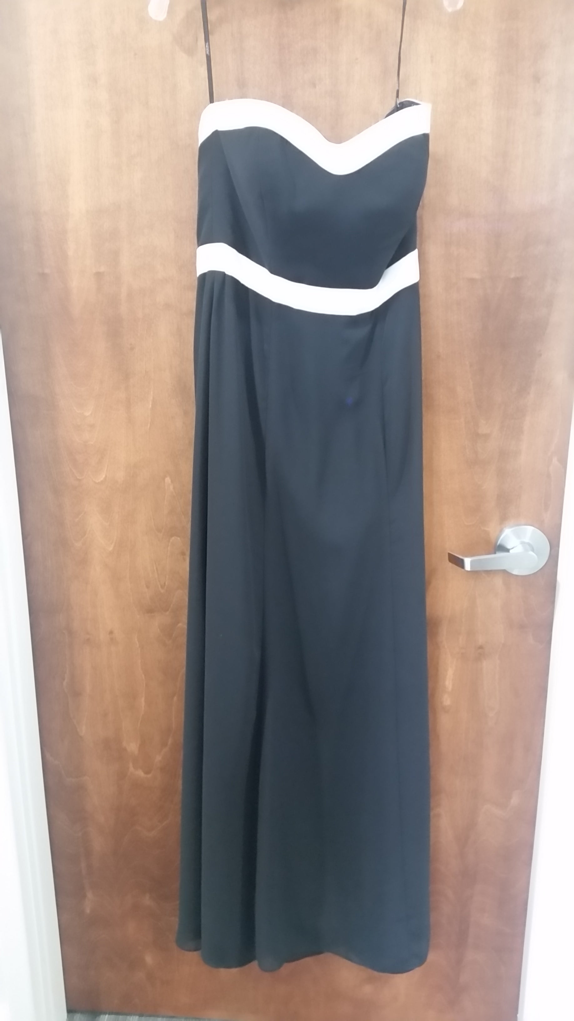 Black and White Maxi Strapless Sweetheart Dress by Social Bridesmaids, Size 10