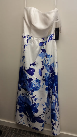 Blue and White Maxi Strapless Straight Across Dress by Alfred Sung, Size 10