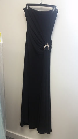 Black Maxi Strapless Straight Across Dress by Jessica McClintock, Size 6