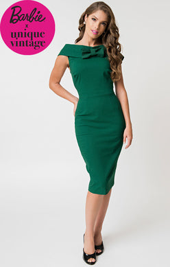 Unique Vintage Green Sheath Dress Size Large Rent for $59