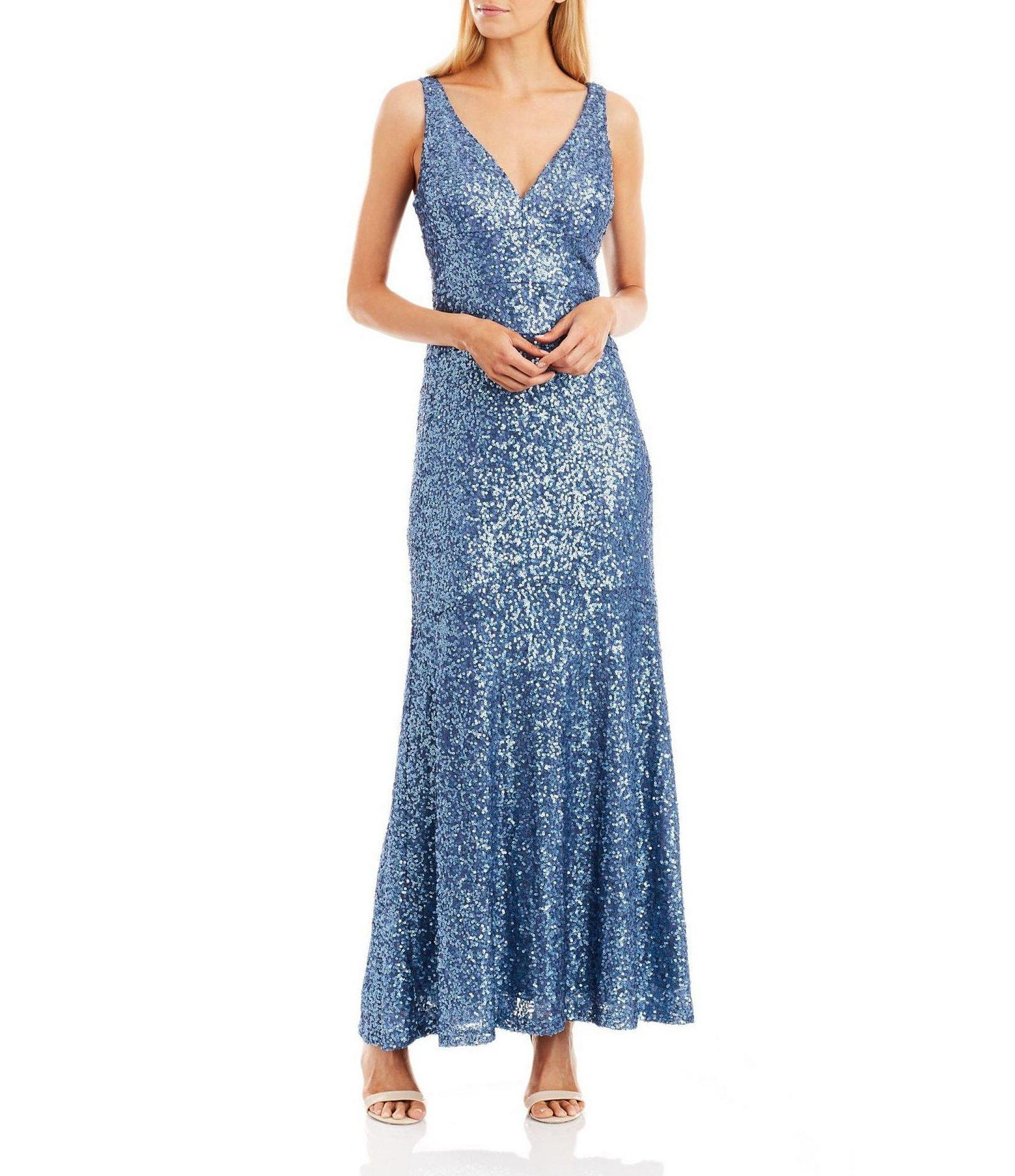 Blue Periwinkle Nicole Miller New York Sequin Gown, Size 6 – Dressed