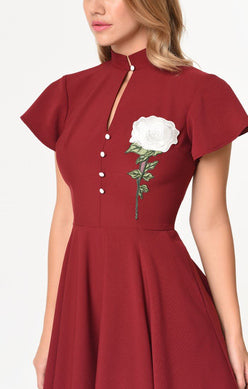 Unique Vintage Red Flower Dress Size Large Rent for $59