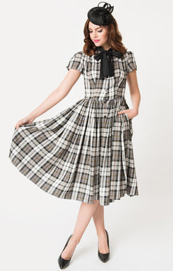 Unique Vintage Plaid Swing Dress Size Large Rent for $59
