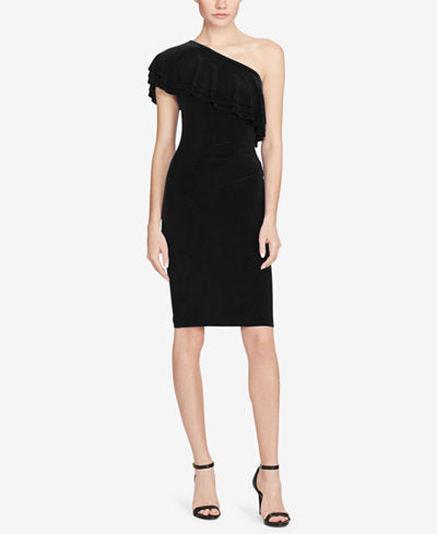 Ralph Lauren Black Ruffled Sheath Dress Size 4, 16