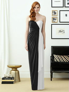 Black and White Maxi Strapless Sweetheart Dress by Dessy Collection, Size 10