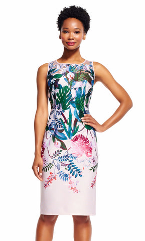 Floral Midi Sleeveless Jewel Dress by Adrianna Papell, Size 4
