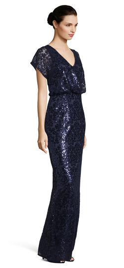 Midnight Blue Maxi Flutter Sleeves V-Neck Dress by Adrianna Papell, Size 8, 00006