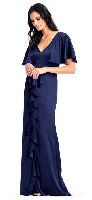 Midnight Blue Maxi Flutter Sleeves V-Neck Dress by Adrianna Papell, Size 0, 00006
