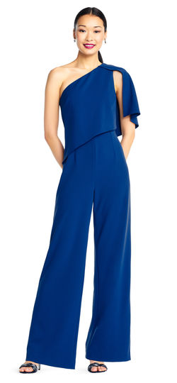 Blue Jumpsuit One Shoulder Asymmetrical Dress by Adrianna Papell, Size 2, 00006