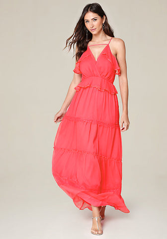 Coral Maxi Sleeveless V-Neck Dress by Adelyn Rae, Size 8