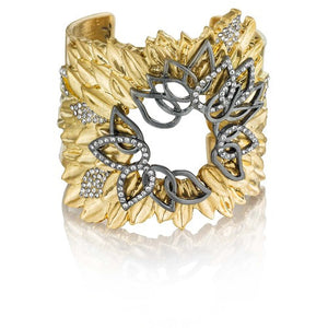 Gold Leaves Deco Statement Cuff Bracelet