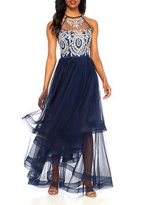 Darlin Embellished Bodice Halter with Tiered Waterfall Skirt Gown Rent for $89
