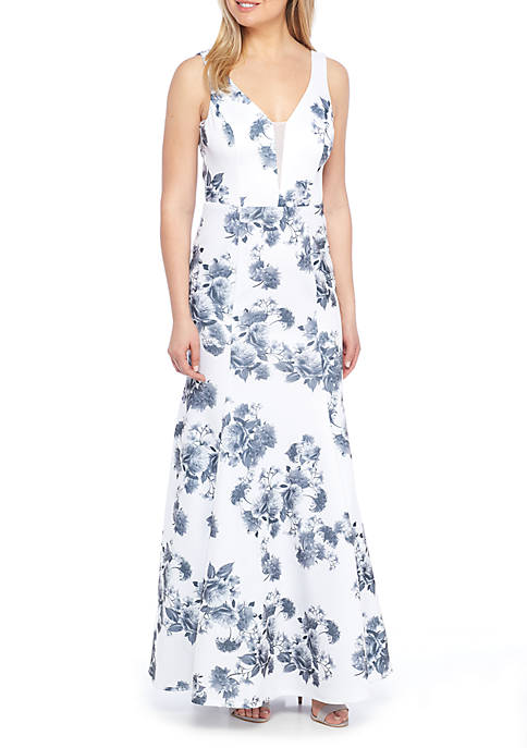 B. Darlin Blue and White Sleeveless V-Neck And Back Gown Rent for $69