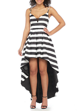 7/14/18 sequin hearts Black and White Stripe Satin Hi-Lo Hem Gown Rent for $79