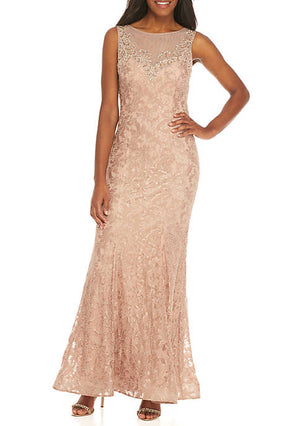 Nude Xscape Long Allover Lace Sequin Sweetheart Neck Gown Size 16 Rent for $99
