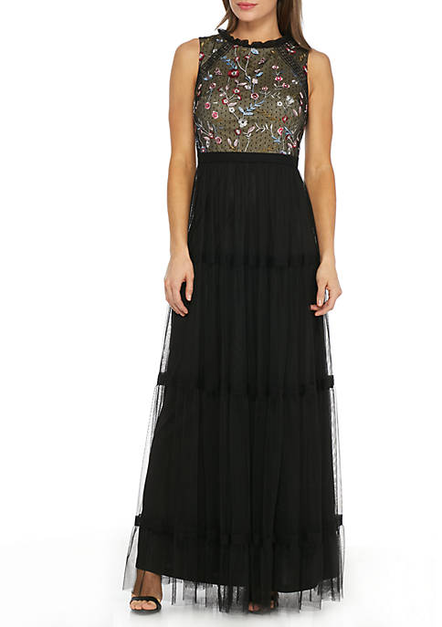 Adrianna Papell Black Sleeveless Embroidered Long Gown Size 10 Rent for $99
