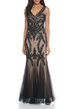 Betsy & Adam Black Embroidered Mesh Mermaid Gown Size 6 Rent for $99