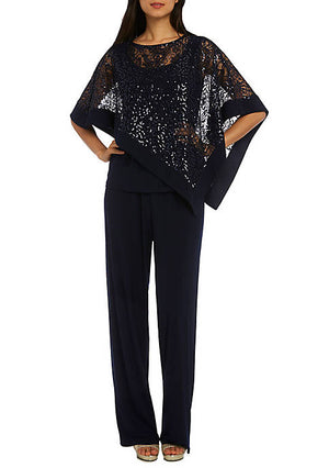 RM Richards Navy Two Piece Sequin Poncho Pant Set Size 16 Rent for $69