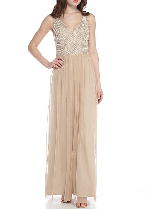 Adrianna Papell Bead Embellished Bodice Mesh Gown Rent for $99