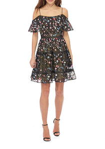 Adrianna Papell Off-The-Shoulder Embroidered Dress Size 12 Rent for $69