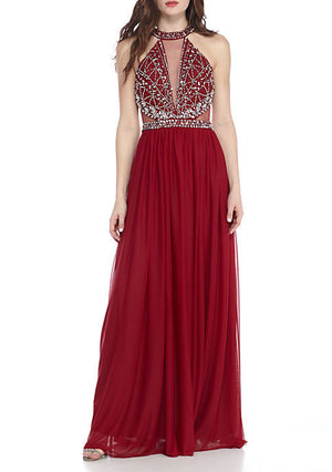 sequin hearts Red Bead Embellished Illusion Neck Halter Gown Size 5 Rent for $79