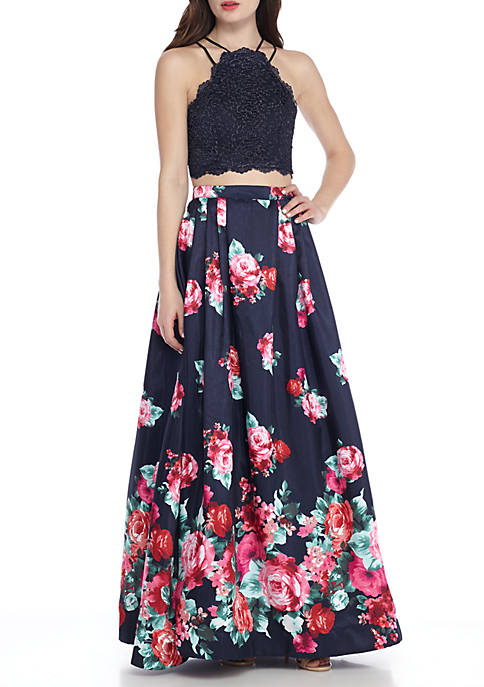 sequin hearts Two-Piece Sparkle Lace Top with Floral Printed Satin Skirt Gown Size 1 Rent for $89