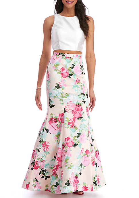 Xscape Two Piece Floral Mermaid Size 0