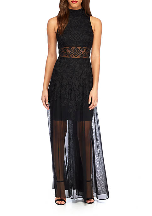 Betsy & Adam Betsy & Adam Embroidered Mock-Neck Gown Black Size 12 Rent for $99