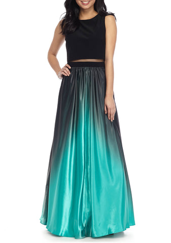 Ombre Green Maxi Sleeveless Jewel Dress by Betsy and Adam, Size 4