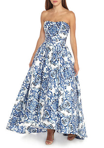 Betsy & Adam Strapless Printed Hi-Lo Hem Ball Gown Color: White/Blue Size 4 Rent for $99