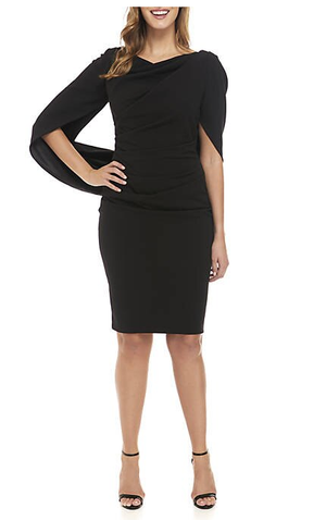Betsy & Adam Black Drape Back Scuba Crepe Dress, Size 4
