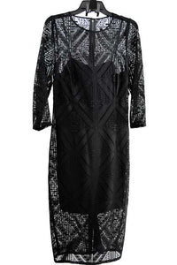 Black Midi Three Quarter Sleeves Jewel Dress by Adrianna Papell, Size 10