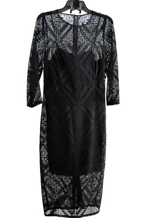Black Midi Three Quarter Sleeves Jewel Dress by Adrianna Papell, Size 14