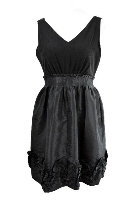 Black Sleeveless V-Neck Dress by Max and Cleo, Size 8