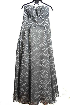 Black and White Maxi Strapless Straight Across Dress by Nicole Miller, Size 12