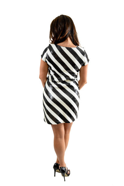 RETURNED TO LENDER ON 8/1/18. Black and white Short Sleeve Day Dress by White House Black Market, Size 6
