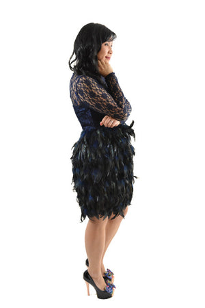 For sale: Blue Long Sleeve Feathered Formal Dress by ASOS, Size 8