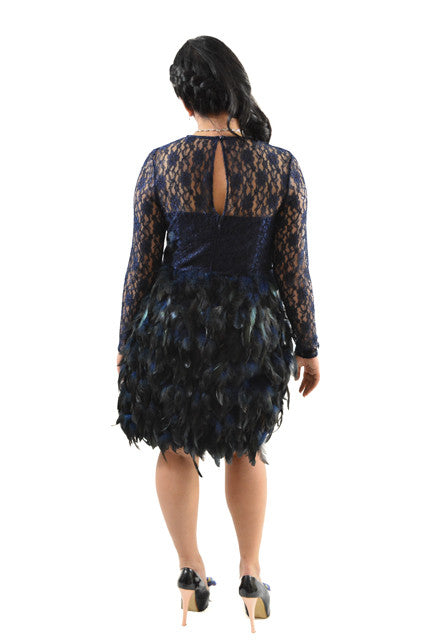 5bb68c1c8e For sale  Blue Long Sleeve Feathered Formal Dress by ASOS