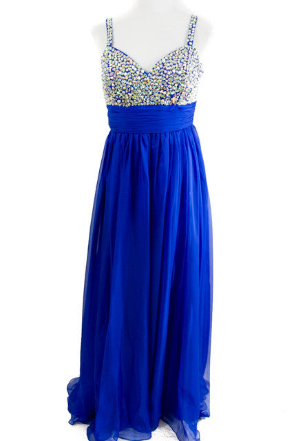 Blue Sleeveless Formal Dress By Dave And Johnny Size 10 Dressed