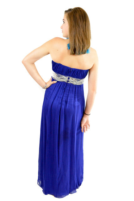 Blue Strapless Formal Dress by JS Boutique, Size 2