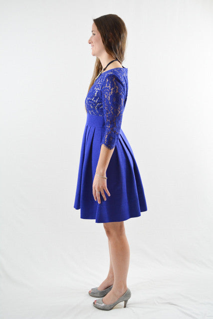 Blue Three-Quarter Sleeves Semi-Formal Dress by Eliza J, Size 4