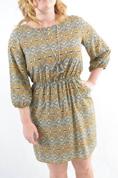 Brown Patterned Three Quarter Sleeves Day Dress by Cremieux, Size 10