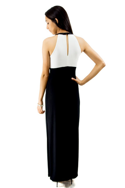 Black and White Maxi Sleeveless Halter Dress by Ralph Lauren, Size 2