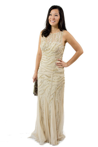 Gold Sequined Aidan Mattox Mermaid Dress, Size 8