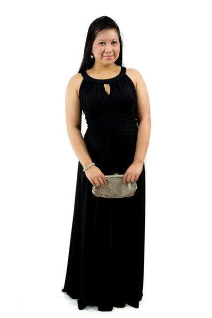 Black Long Sleeveless Halter Dress by Sangria, Size 10
