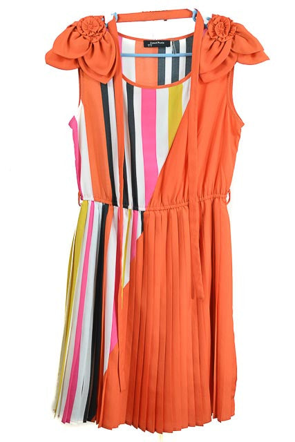 RETURNED TO LENDER ON 7/23/18.Multi-Color Midi Short Sleeve Jewel Dress by Janet Paris, Size 8