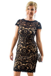 Black Midi Short Sleeve Jewel Dress by Tadashi Shoji, Size 4