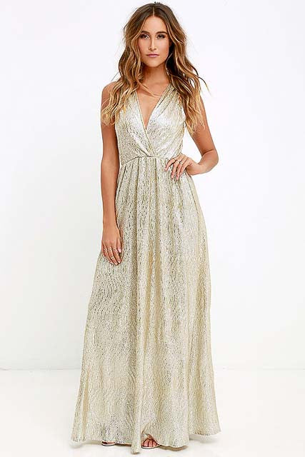 Gold Maxi Sleeveless V-Neck Dress by Lulus, Size 8