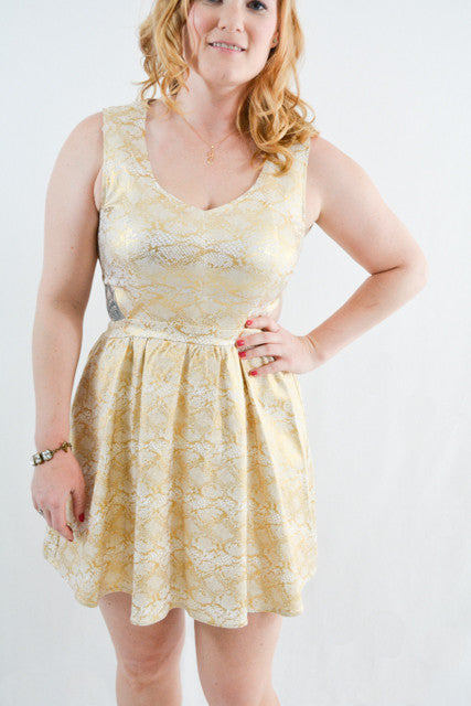 Gold Sleeveless Semi-Formal Dress by , Size 12