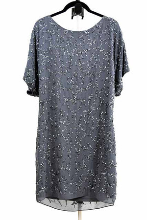 Gray Midi Short Sleeve Jewel Dress by Adrianna Papell, Size 8
